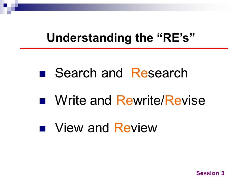 Understanding the RE's