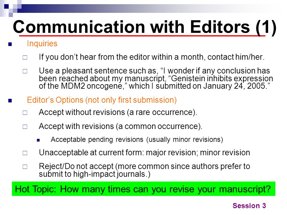 Communication with Editors (1)
