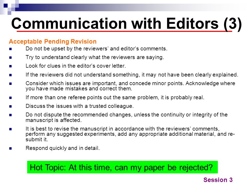 Communication with Editors (3)