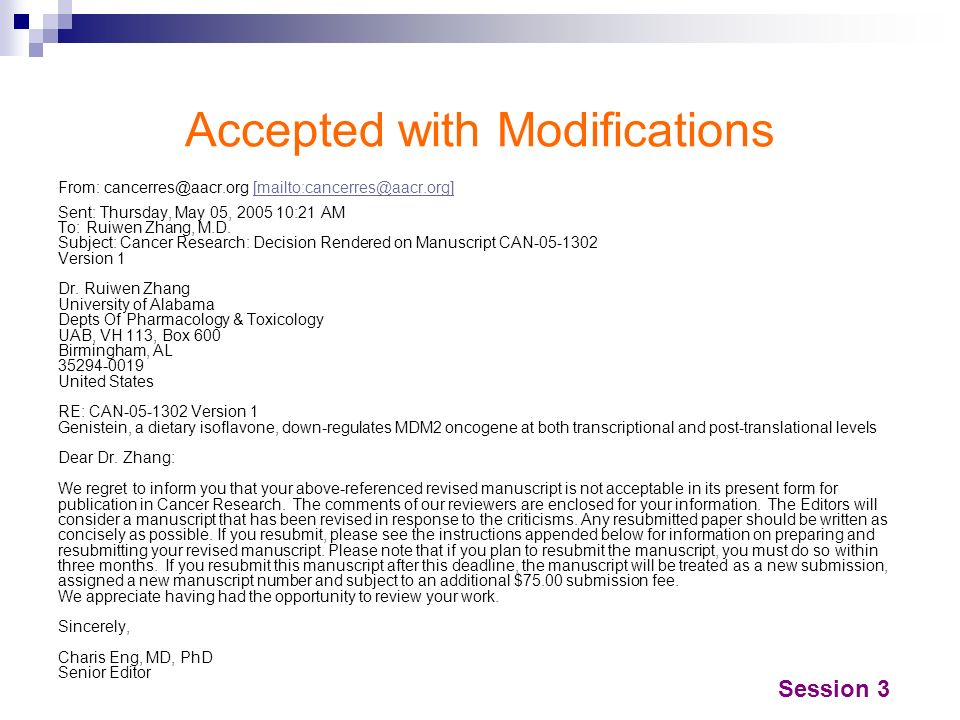 Accepted with Modifications