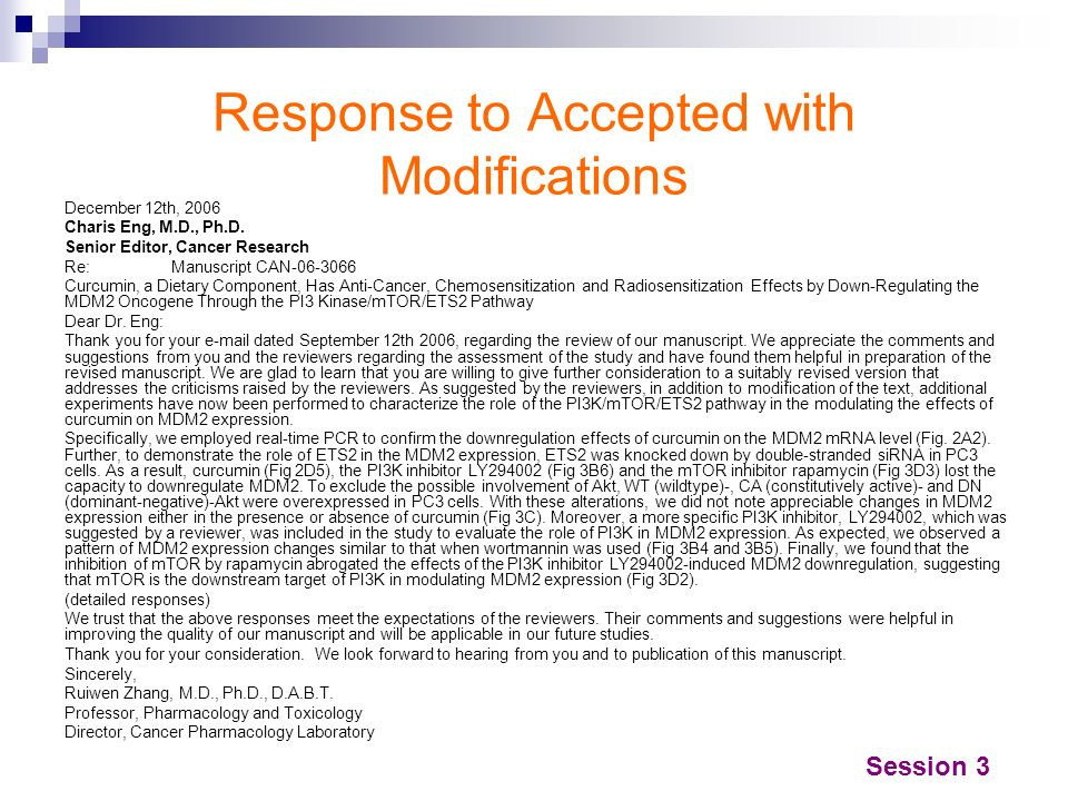 Response to Accepted with Modifications
