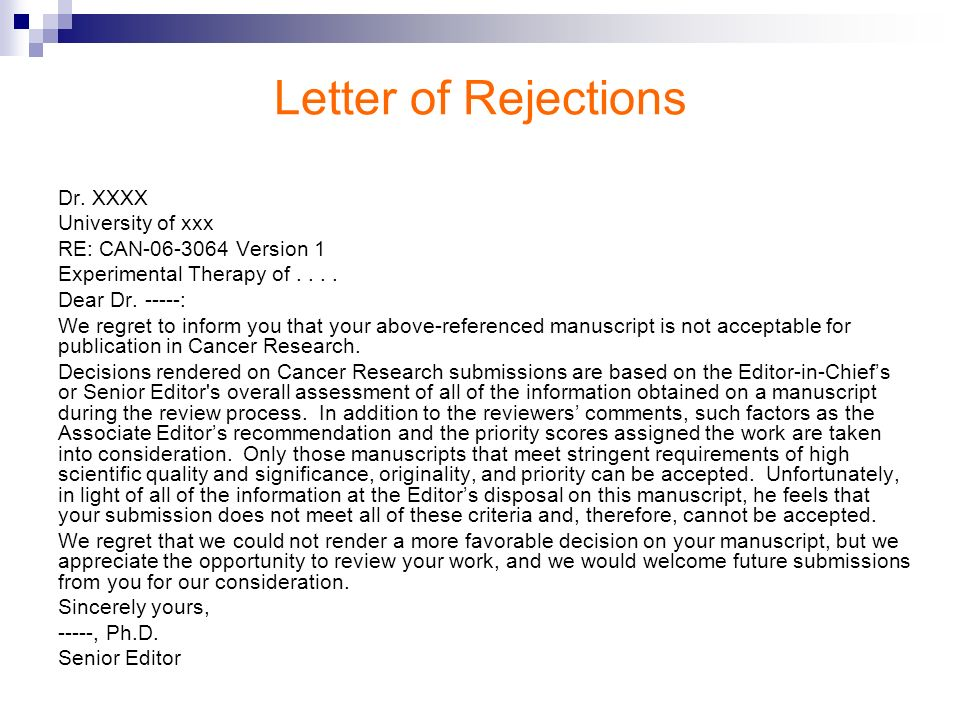 Letter of Rejections Dr. XXXX University of xxx