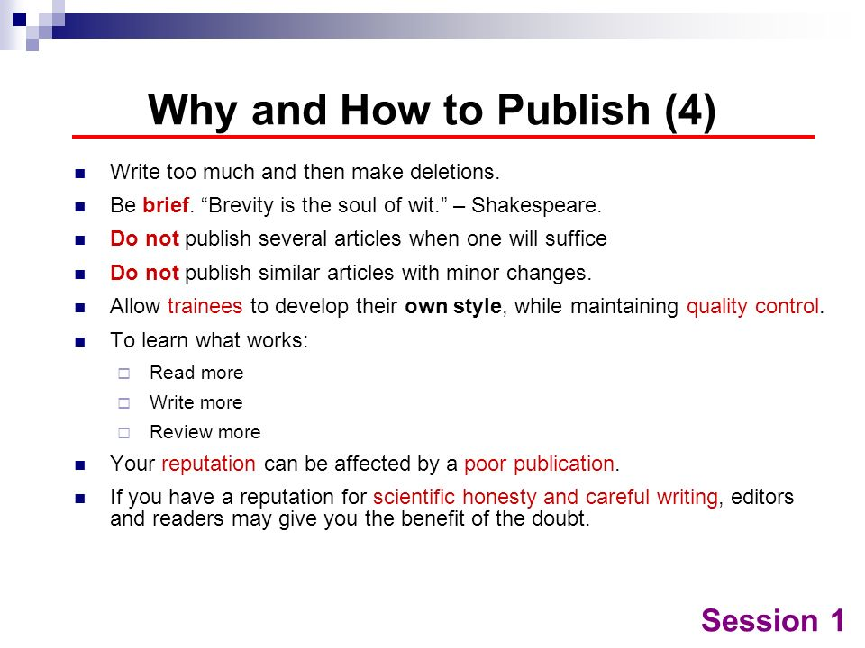 Why and How to Publish (4)