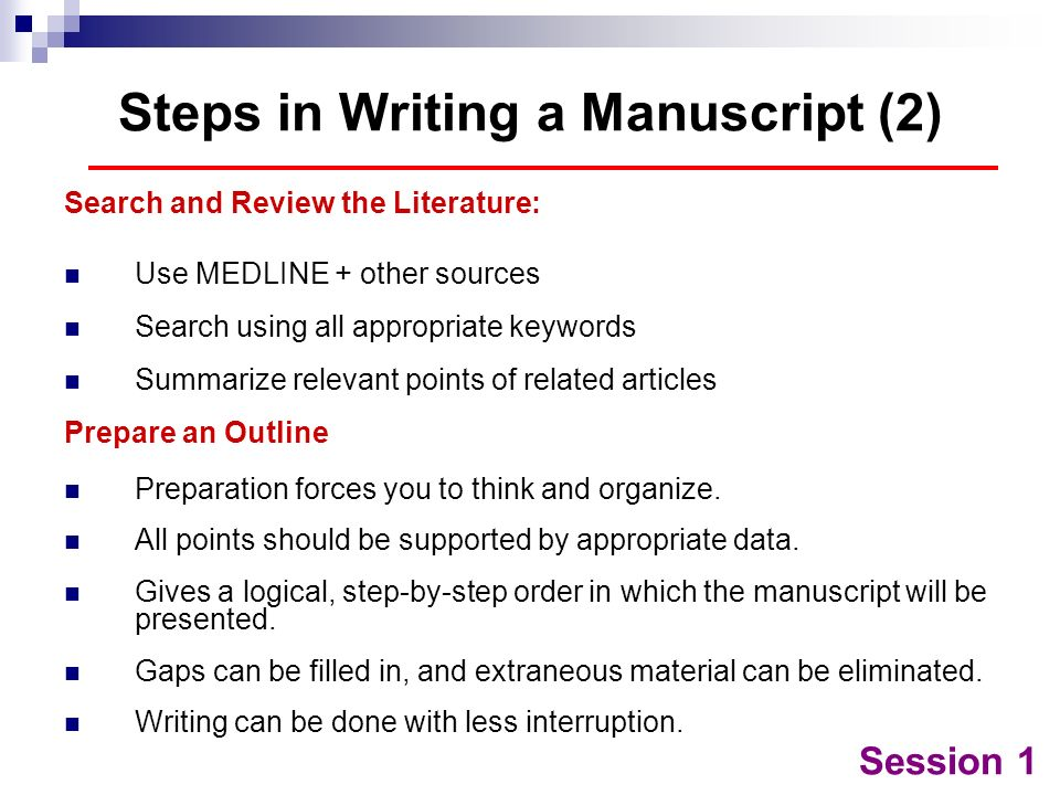 Steps in Writing a Manuscript (2)