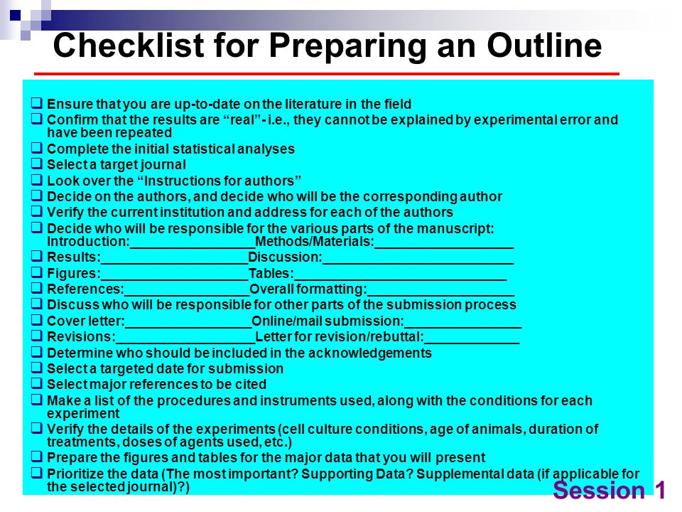 Checklist for Preparing an Outline