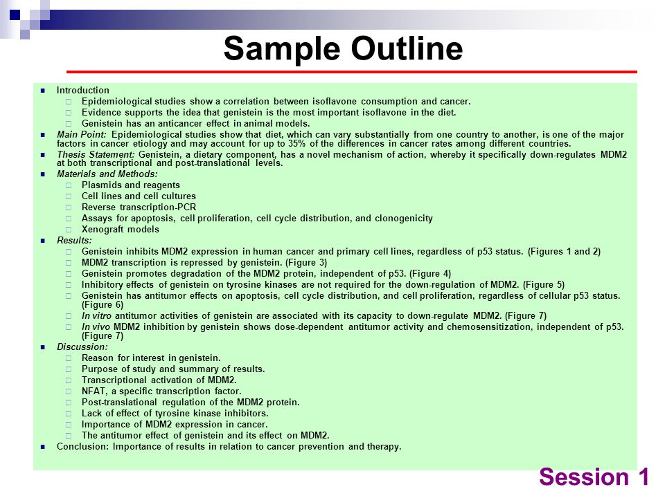 Sample Outline Session 1 Introduction