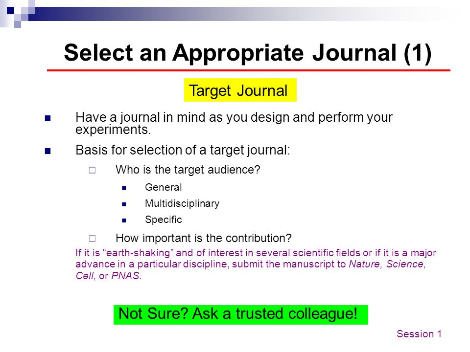 Select an Appropriate Journal (1)