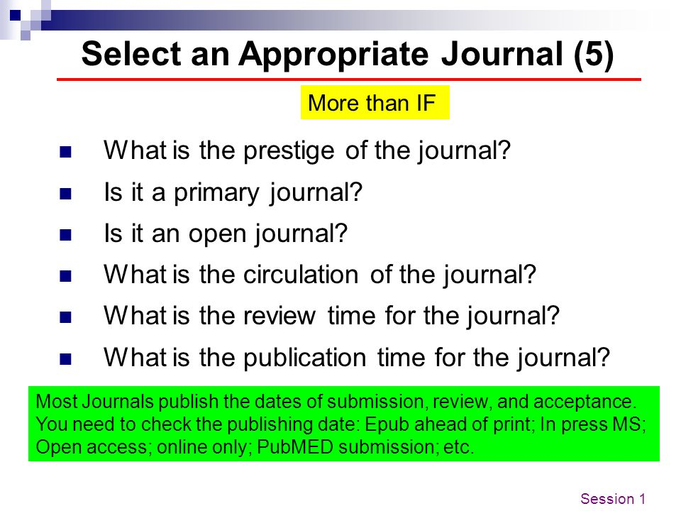 Select an Appropriate Journal (5)