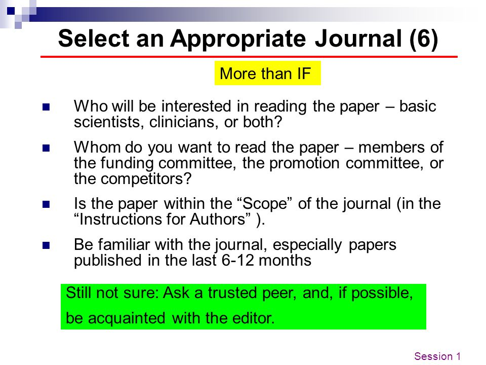 Select an Appropriate Journal (6)