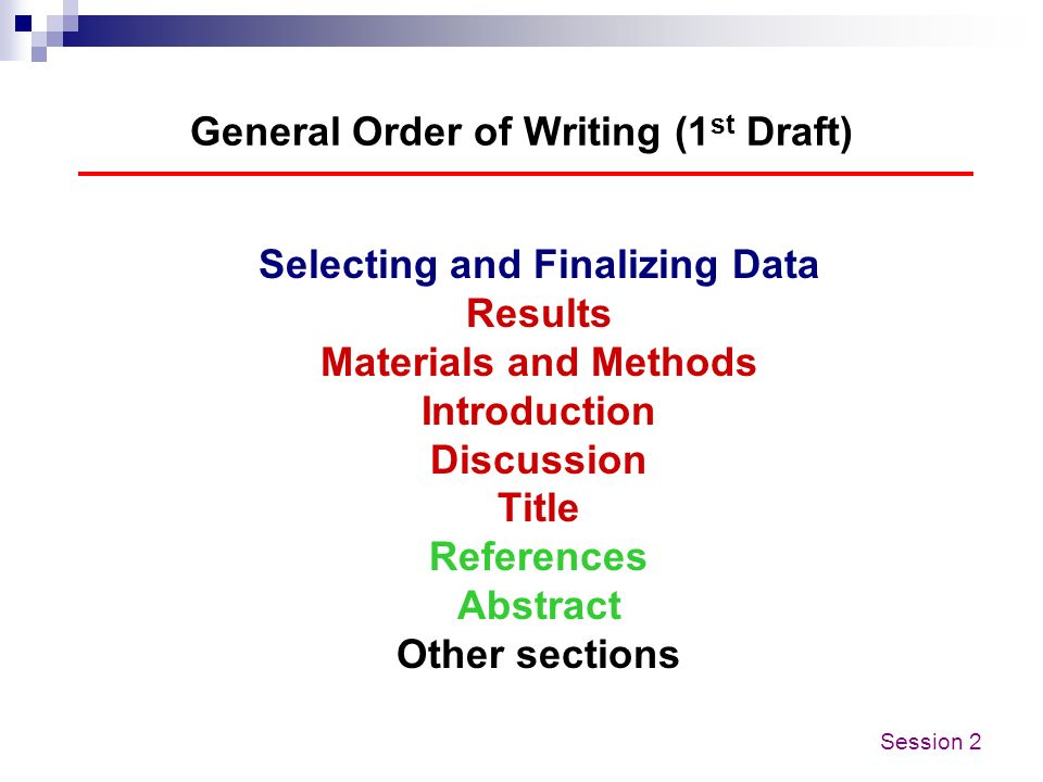 General Order of Writing (1st Draft)