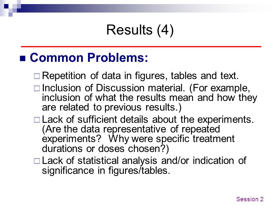 Results (4) Common Problems:
