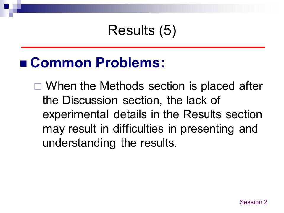 Results (5) Common Problems: