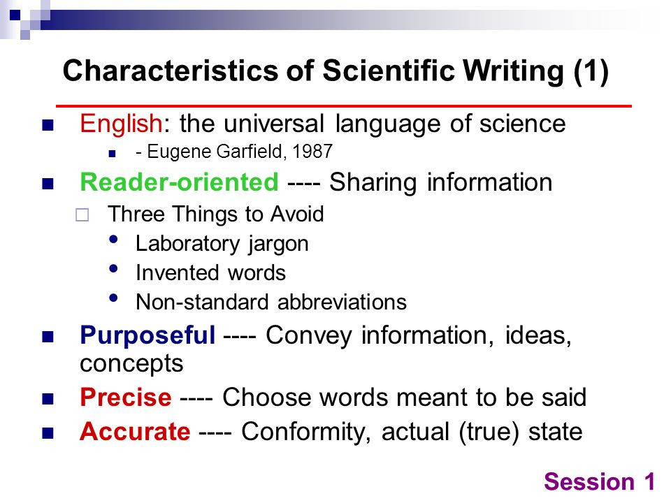Characteristics of Scientific Writing (1)