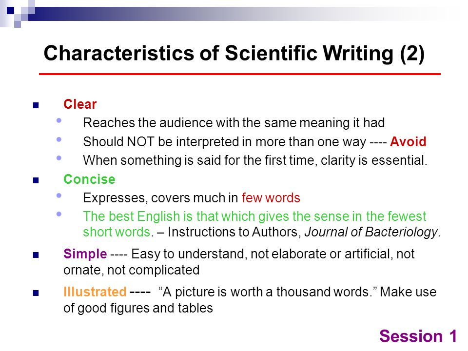 Characteristics of Scientific Writing (2)