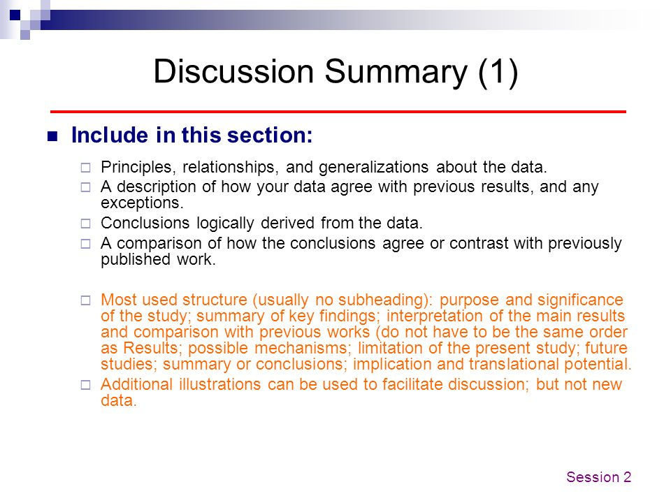 Discussion Summary (1) Include in this section: