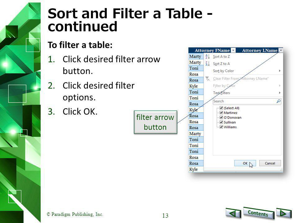 Sort and Filter a Table - continued