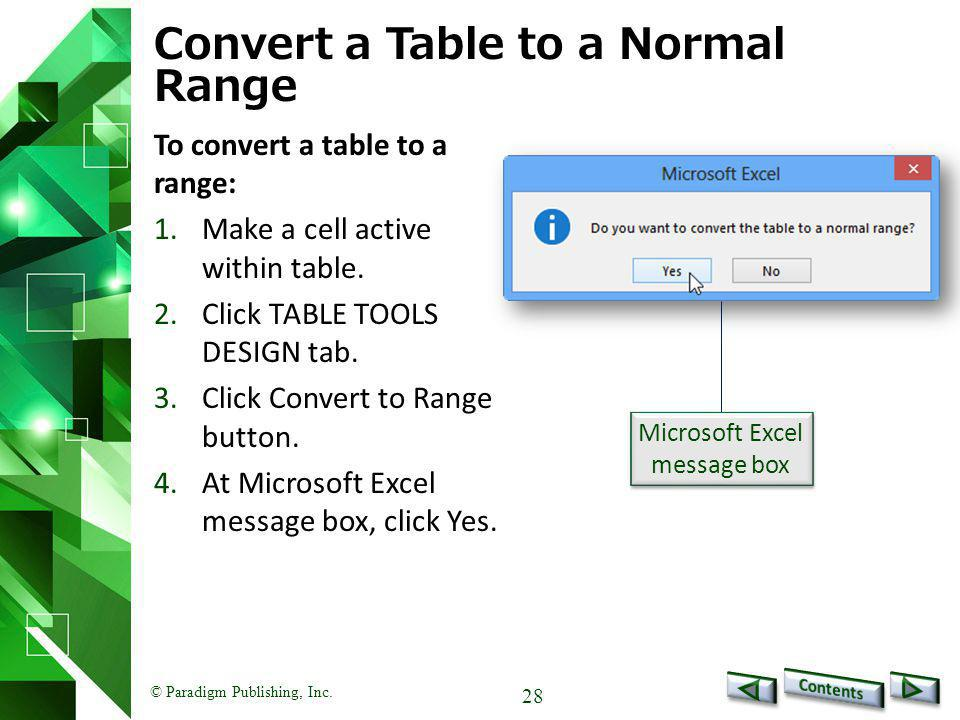 Convert a Table to a Normal Range
