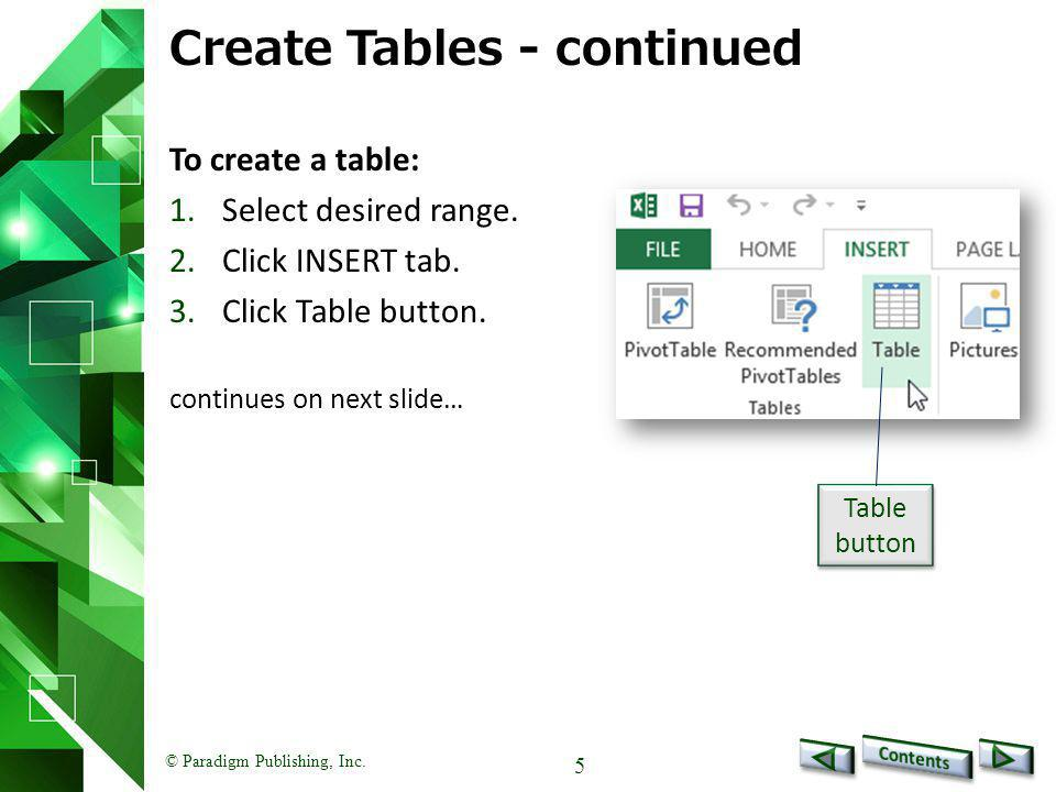 Create Tables - continued