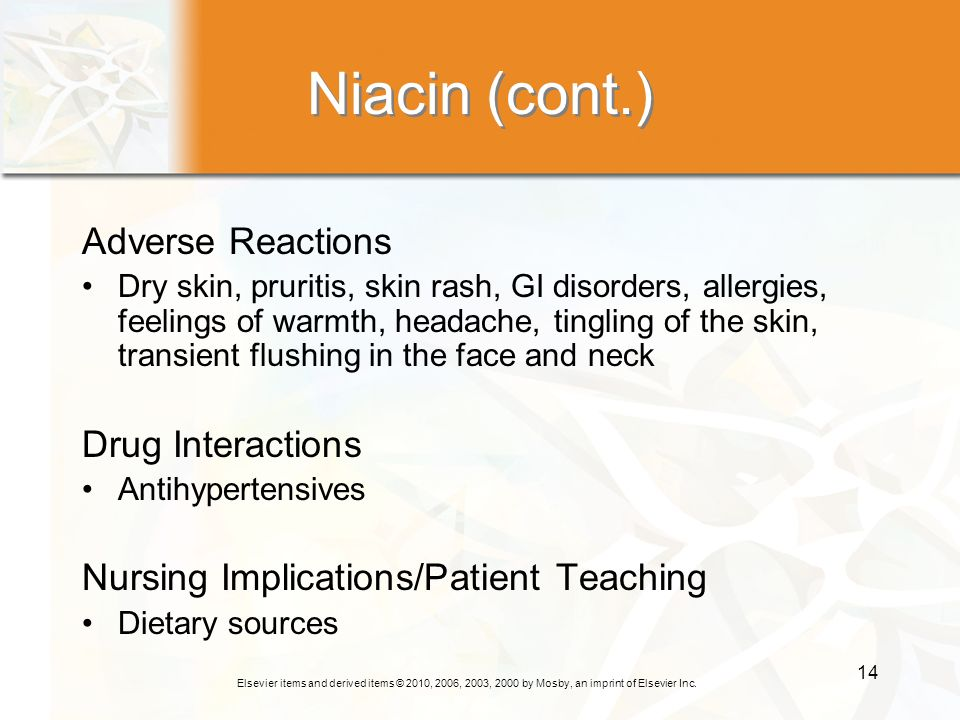 Niacin (cont.) Adverse Reactions Drug Interactions