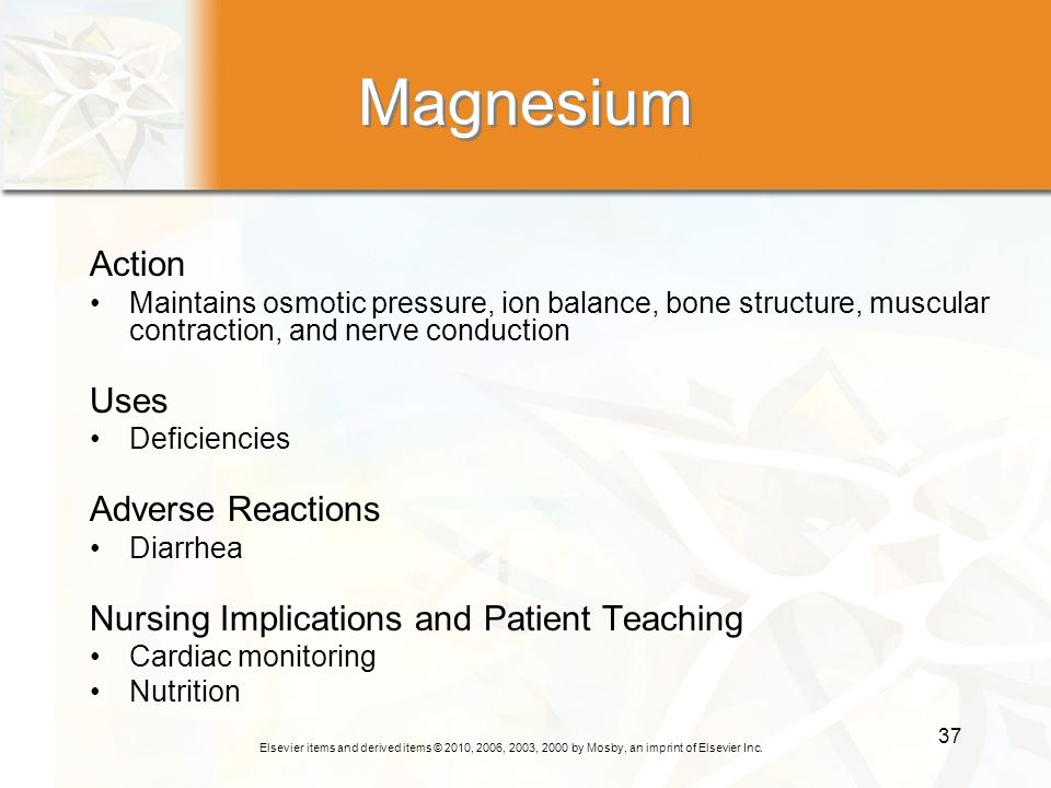 Magnesium Action Uses Adverse Reactions