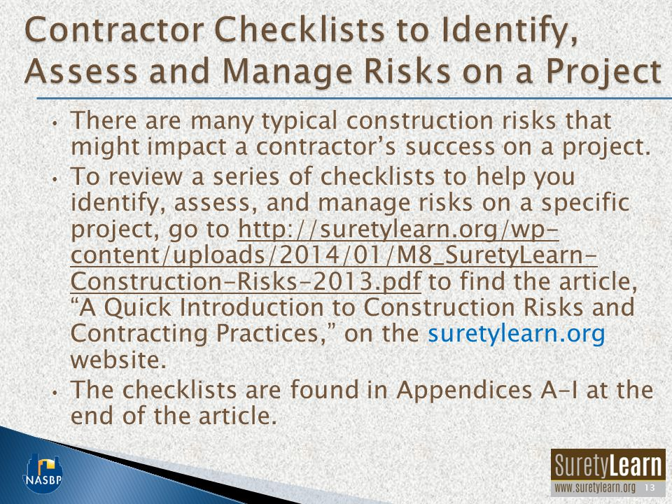 Contractor Checklists to Identify, Assess and Manage Risks on a Project