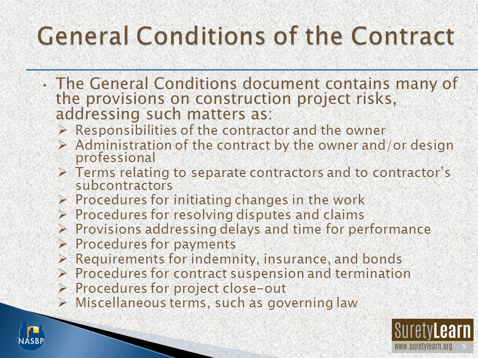 General Conditions of the Contract