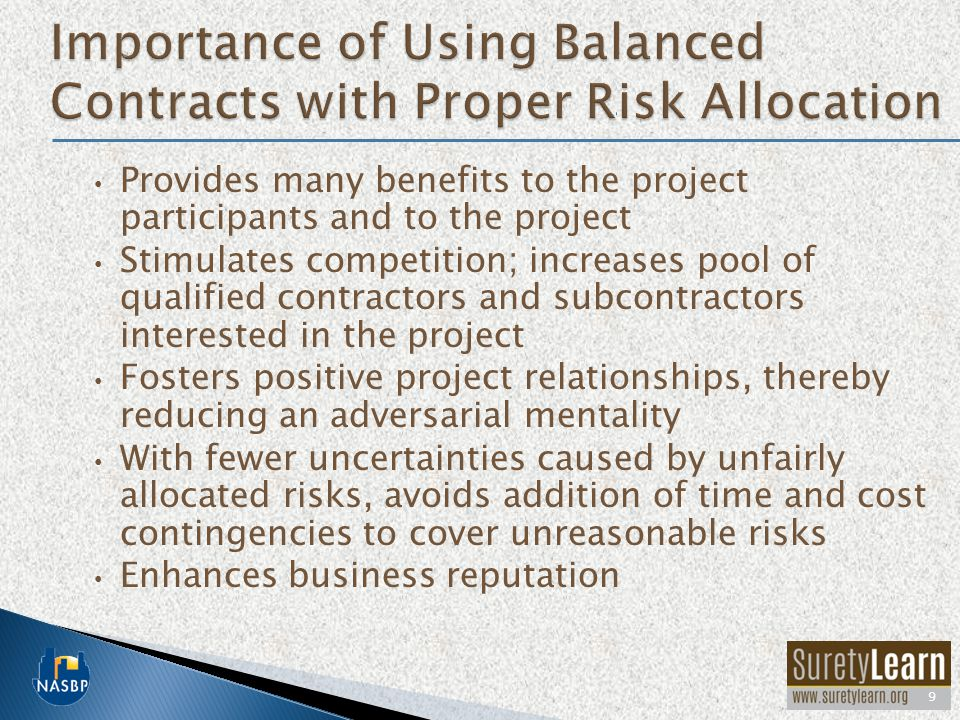 Importance of Using Balanced Contracts with Proper Risk Allocation