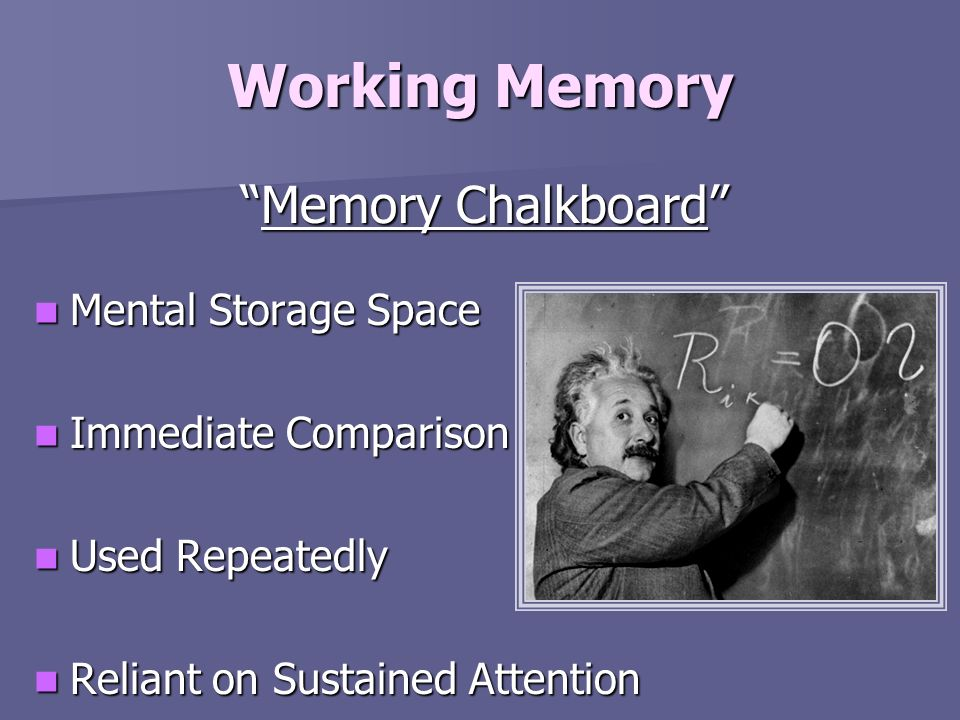 Working Memory Memory Chalkboard Mental Storage Space