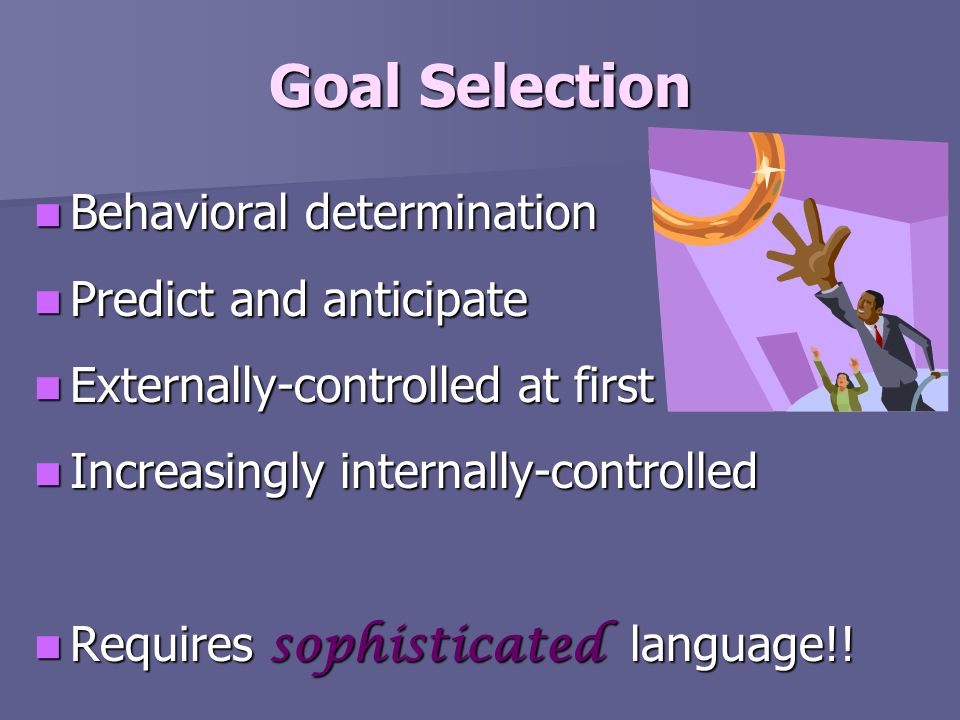 Goal Selection Behavioral determination Predict and anticipate