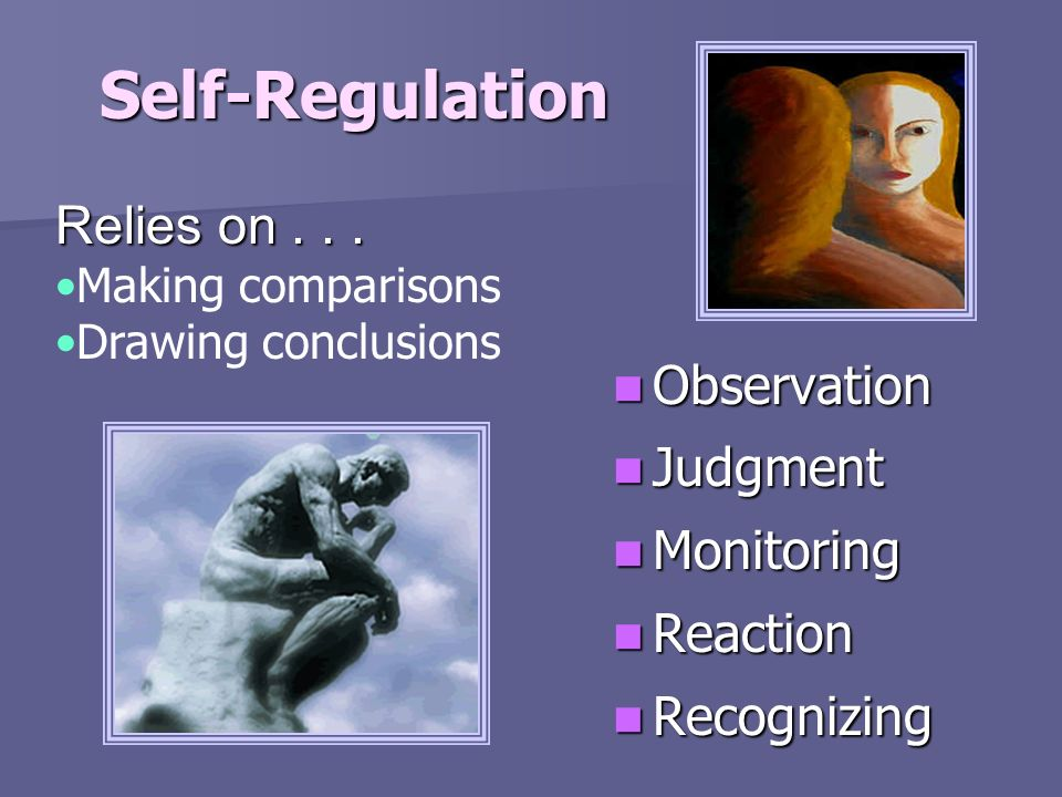 Self-Regulation Relies on . . . Observation Judgment Monitoring