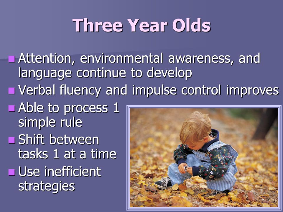 Three Year Olds Attention, environmental awareness, and language continue to develop. Verbal fluency and impulse control improves.