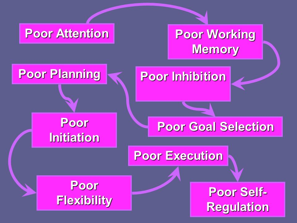 Poor Attention Poor Working Memory Poor Planning Poor Inhibition