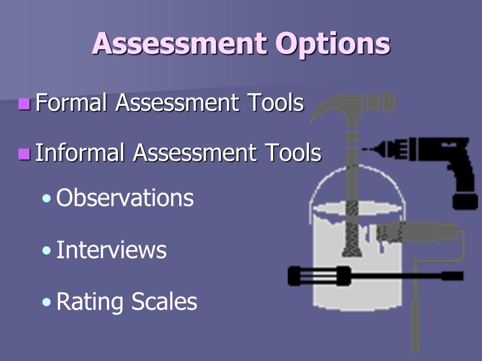 Assessment Options Formal Assessment Tools Informal Assessment Tools