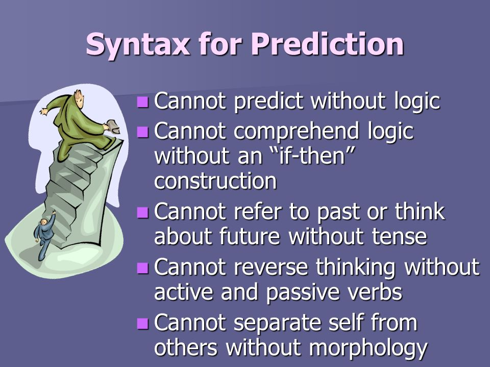 Syntax for Prediction Cannot predict without logic