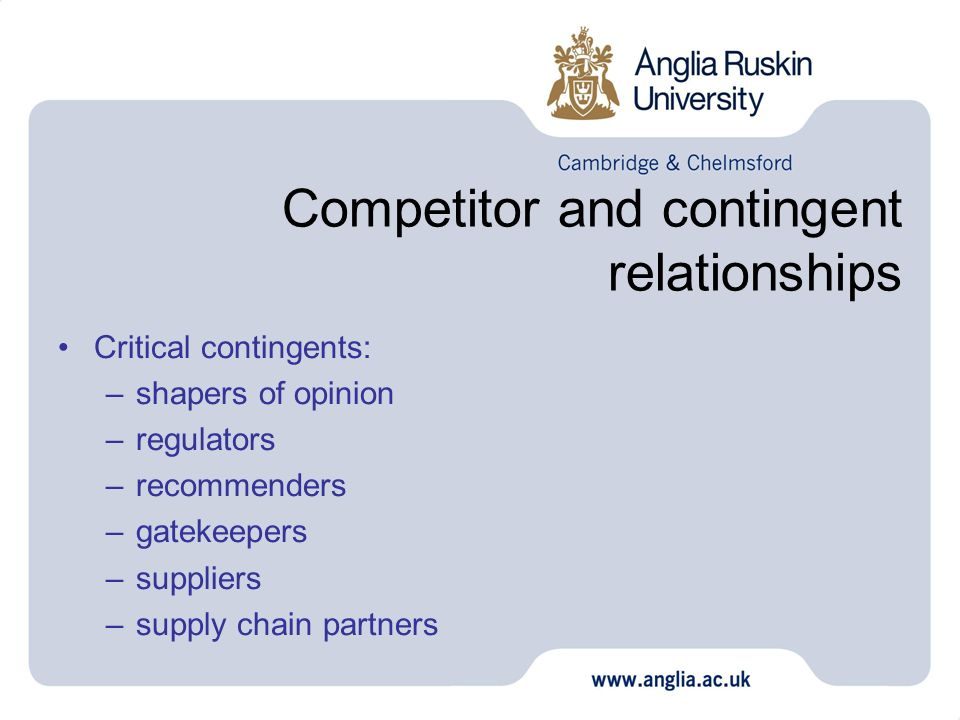 Competitor and contingent relationships
