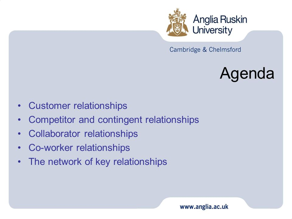 Agenda Customer relationships Competitor and contingent relationships