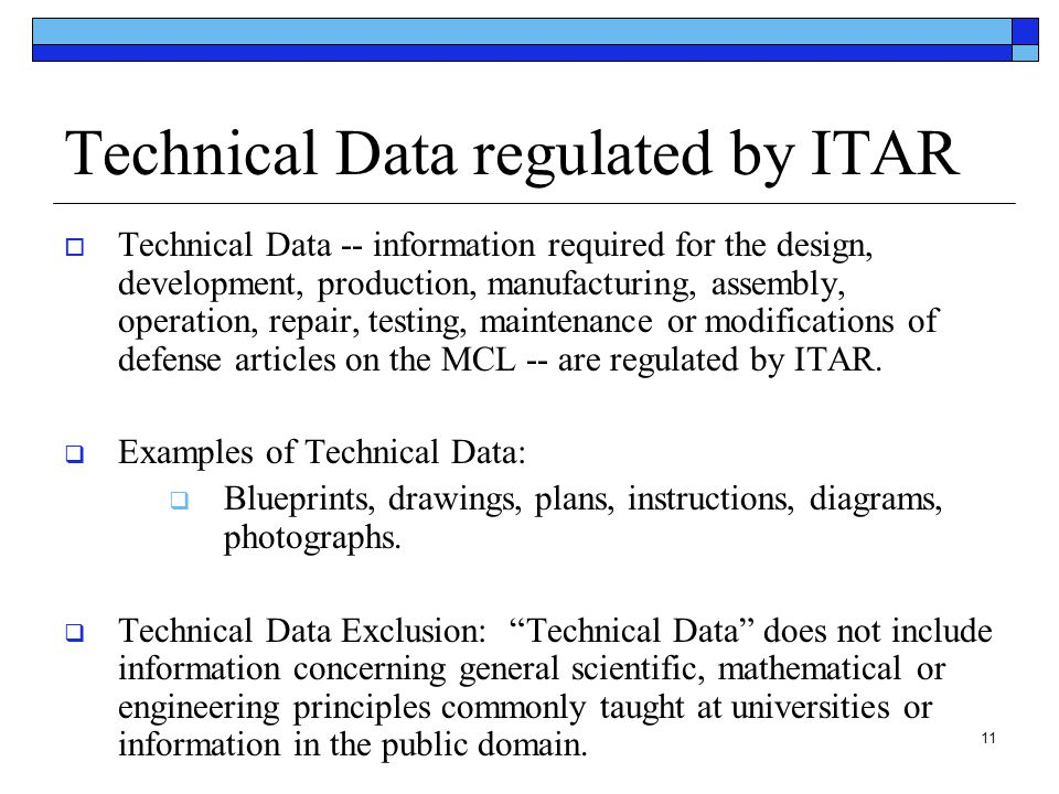 Technical Data regulated by ITAR