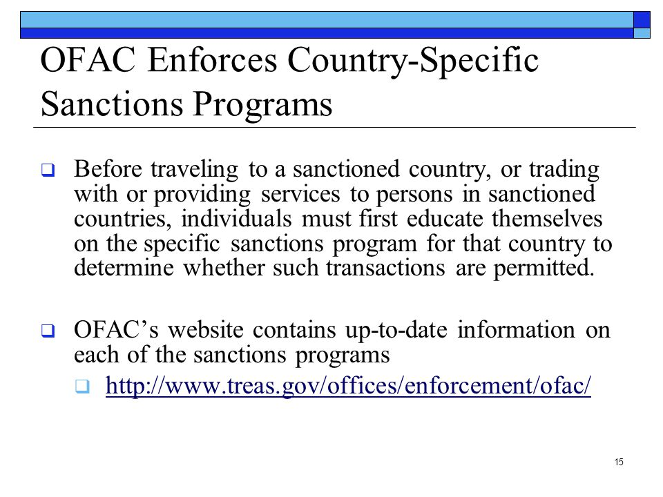 OFAC Enforces Country-Specific Sanctions Programs