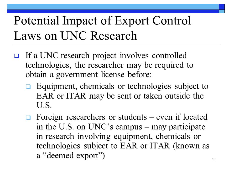 Potential Impact of Export Control Laws on UNC Research