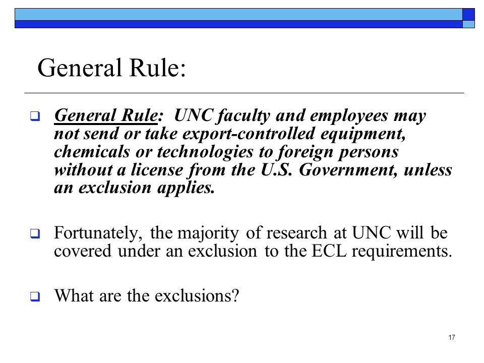 General Rule: