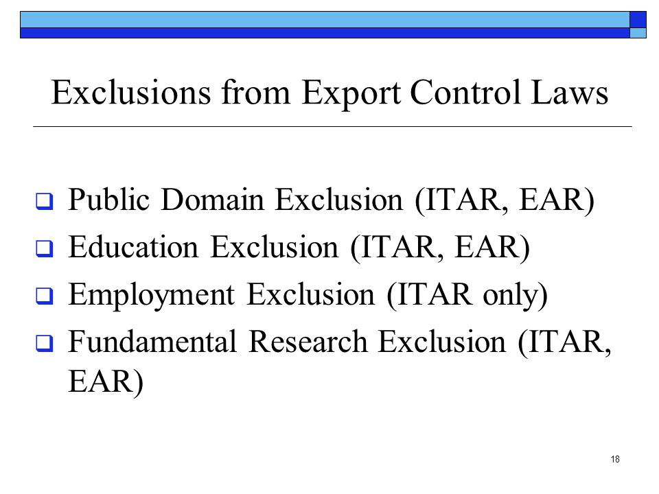 Exclusions from Export Control Laws