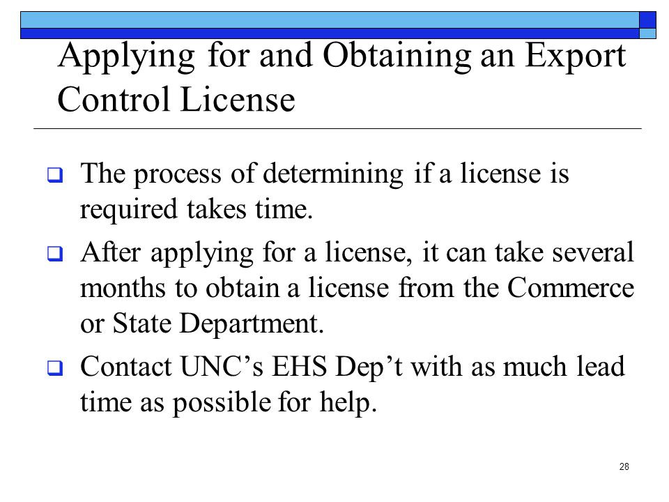 Applying for and Obtaining an Export Control License