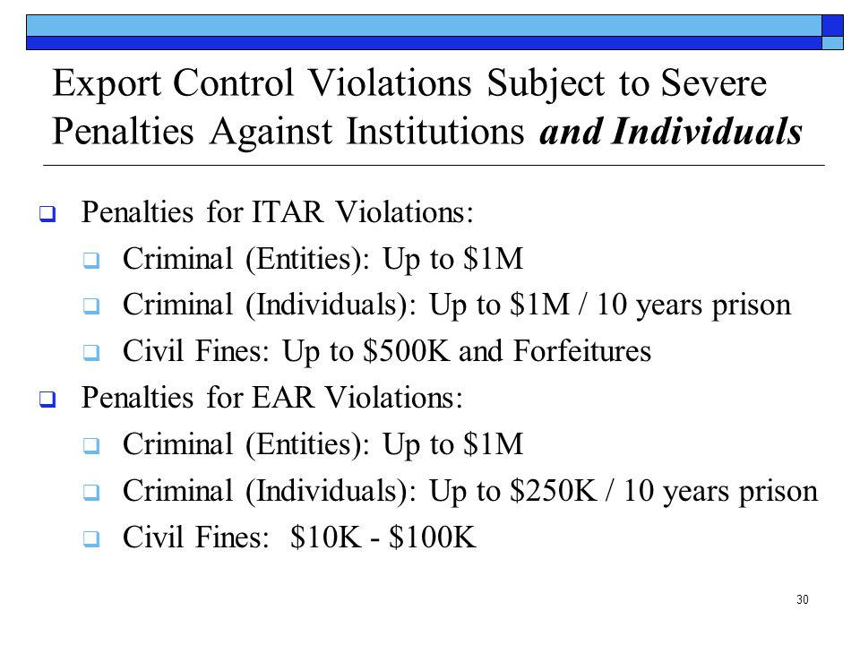 Export Control Violations Subject to Severe Penalties Against Institutions and Individuals