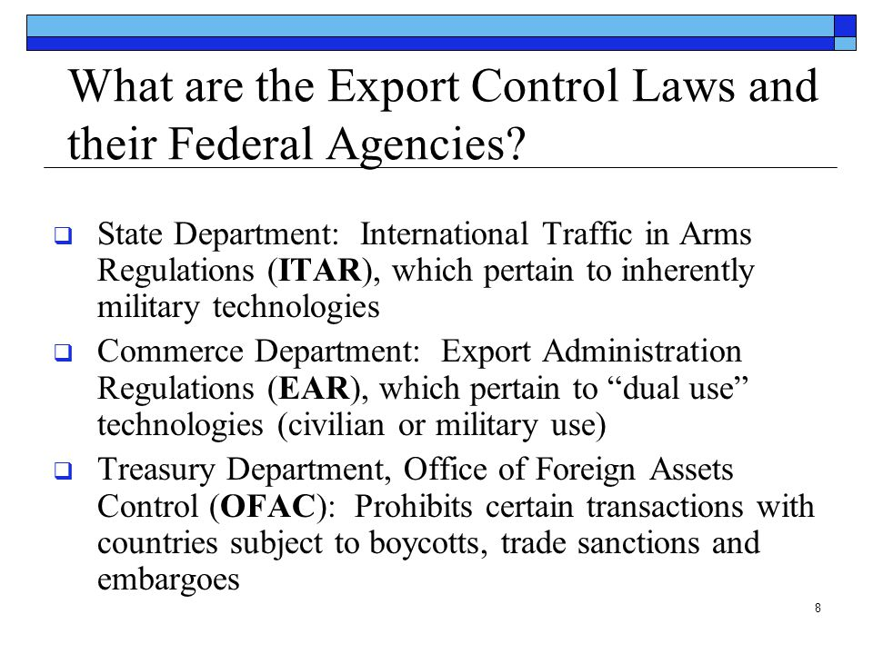 What are the Export Control Laws and their Federal Agencies