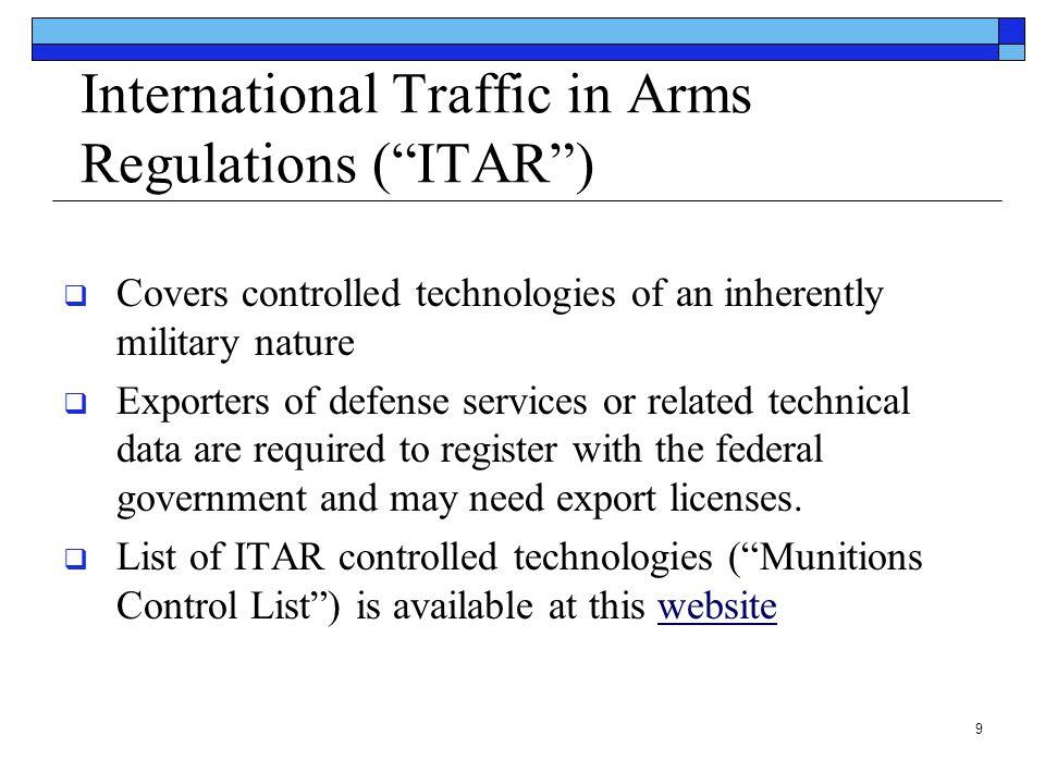 International Traffic in Arms Regulations ( ITAR )