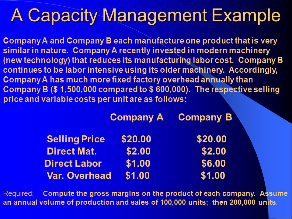 A Capacity Management Example