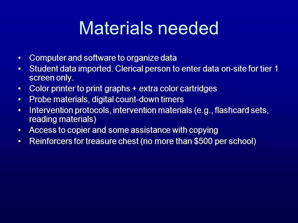Materials needed Computer and software to organize data
