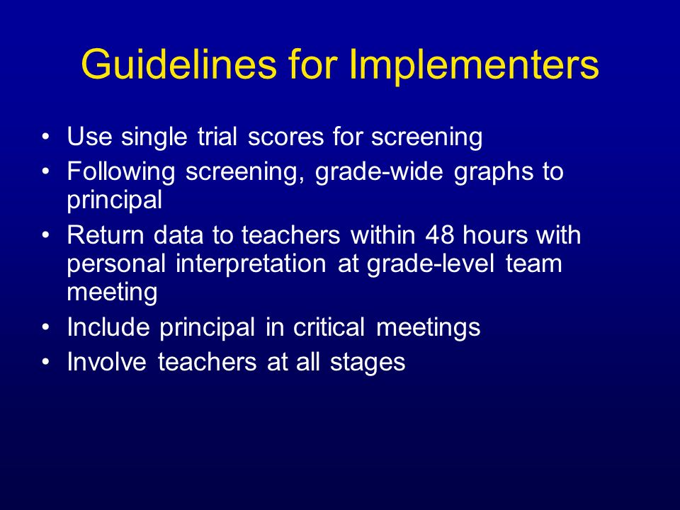 Guidelines for Implementers