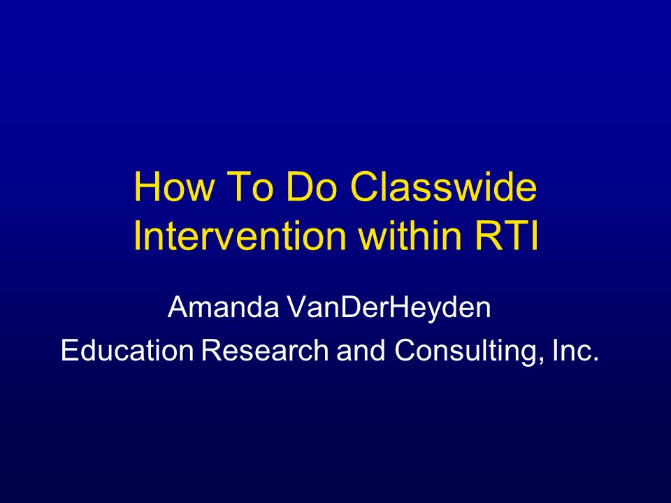 How To Do Classwide Intervention within RTI