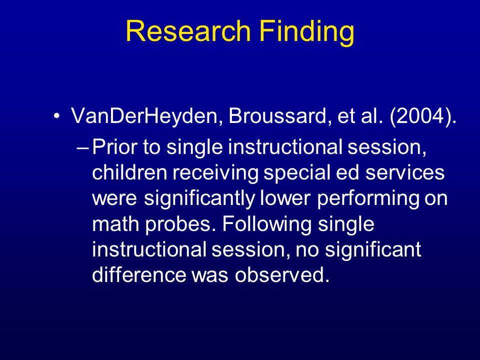 Research Finding VanDerHeyden, Broussard, et al. (2004).